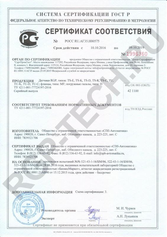 Сертификат соответсвия RGP