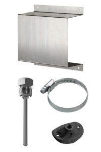 аксессуары для датчиков температуры, экран для наружного датчика температуры, защитная гильзы для погружного датчика, монтажный фланец для канальных датчиков, хомут для накладного датчика температуры