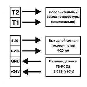 подключение датчика 4-20мА к контроллеру, схема подключения датчика углекислого газа